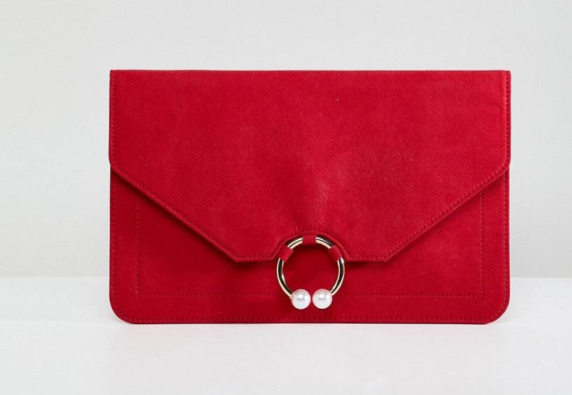 ASOS DESIGN clutch bag with ring pearl