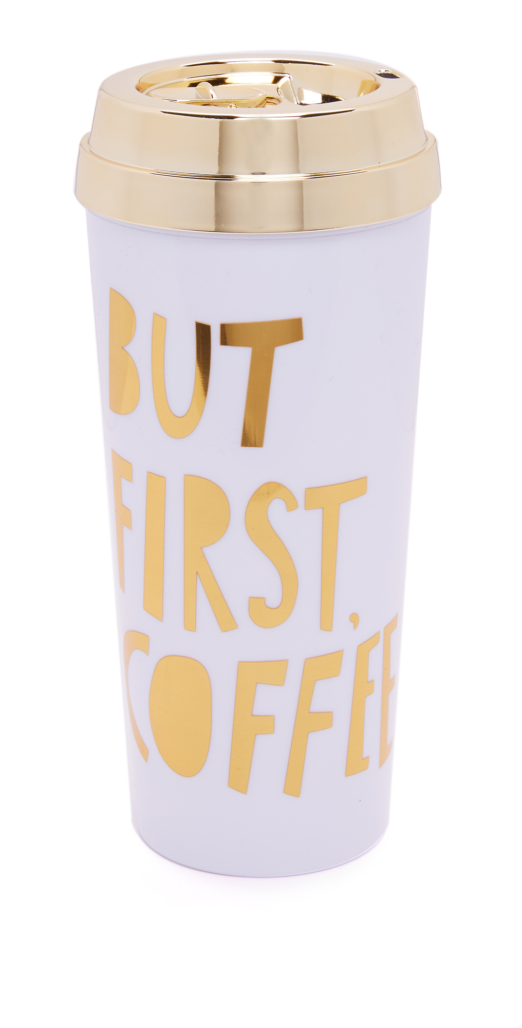 DELUXE HOT STUFF THERMAL MUG  BUT FIRST COFFEE  METALLIC GOLD